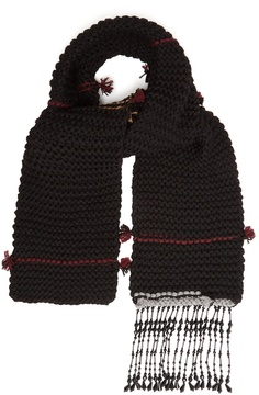 Prada Bead-embellished striped wool scarf