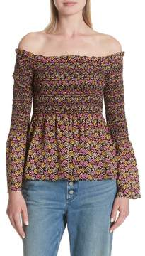 A.L.C. Agra Off the Shoulder Bell Sleeve Silk Top