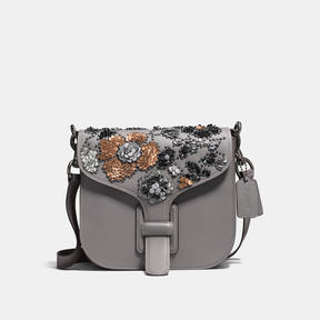 COACH Coach Courier Bag With Leather Sequins - BLACK COPPER/HEATHER GREY - STYLE
