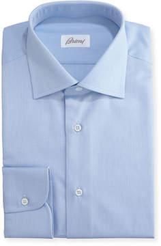 Brioni Textured Micro-Diamond Dress Shirt, Blue
