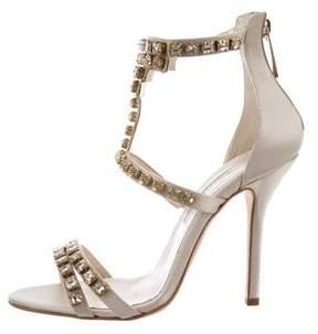Oscar de la Renta Satin Embellished Sandals w/ Tags