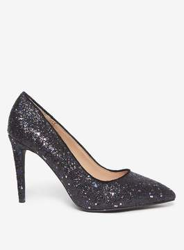 Dorothy Perkins Wide Fit Black Glitter 'Emily' Pointed Court Shoes
