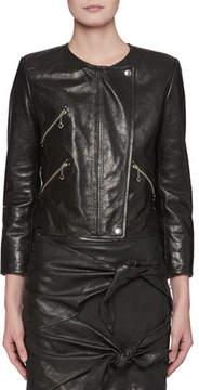 Etoile Isabel Marant Grinly Zip-Front Leather Moto Jacket