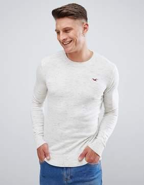Hollister Falem Crew Neck Sweater Icon Logo Raglan in Beige