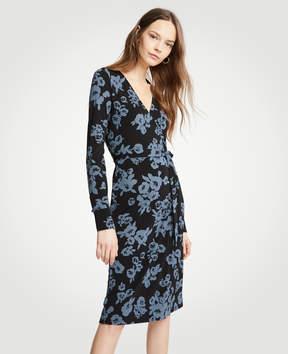 Ann Taylor Winter Floral Button Cuff Wrap Dress