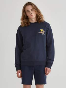 Frank and Oak Grapefruit Embroidered Washed Light Terry Sweatshirt in Navy Blazer