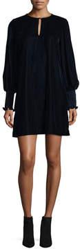 Shoshanna Dores Bishop-Sleeve Velvet Dress