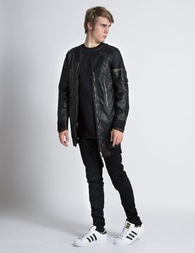 Hood by Air Black Leather Panel Bomber Jacket with Mesh Combo