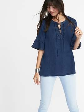 Old Navy Relaxed Lace-Yoke Tencel® Top for Women