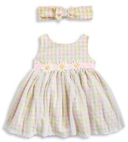Sweet Heart Rose Sweetheart Rose Baby Girl's Two-Piece Checkered Bodysuit and Headband Set