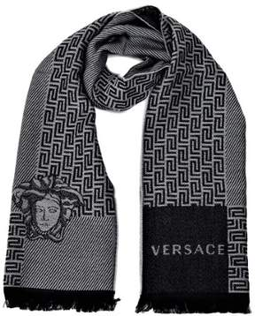 Versace Basic Medusa Greek Key Pattern Scarves Black-Grey