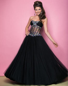 Blush Lingerie Jewel Embellished Ruched Sweetheart Ball Gown 5234