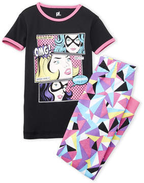 Petit Lem Girls 7-16) Two-Piece Super Hero Tee & Printed Leggings Set