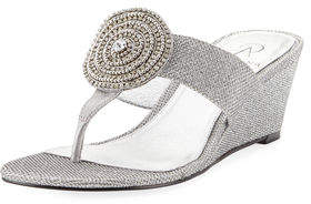 Adrianna Papell Casey Metallic Slide Wedge Sandal