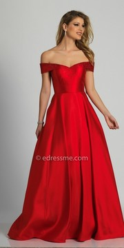 Dave and Johnny Off the Shoulder Beaded Ball gown
