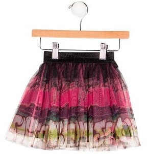 Junior Gaultier Girls' Tulle Abstract Print Skirt