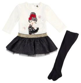 Petit Lem Baby's Two-Piece Peplum Dress and Tights Set