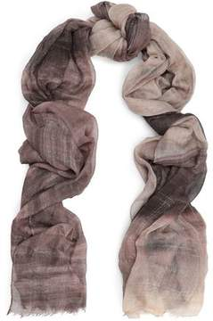 Brunello Cucinelli Frayed Metallic Checked Cashmere-Blend Scarf