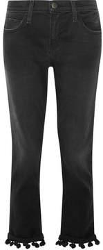 Current/Elliott The Cropped Pompom-trimmed High-rise Straight-leg Jeans - Black