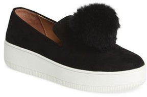 Linea Paolo Women's Sammy Platform Sneaker With Genuine Rabbit Fur Pompom