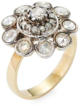Artisan Women's Floral Diamond 18K Yelllow Gold & Silver Ring