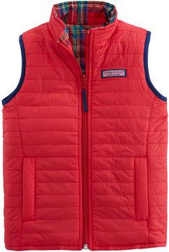 Vineyard Vines Girls Reversible Plaid Puffer Vest (XS-XL)