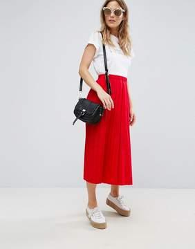 Asos Pleated Midi Skirt in Cotton