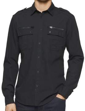 Calvin Klein Jeans Mens Zipper Detail 2 Pocket Button-Down Shirt