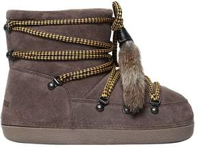 DSQUARED2 Suede Snow Ankle Boots W/ Fur Tassels