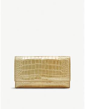 Smythson Mara Continental metallic leather purse