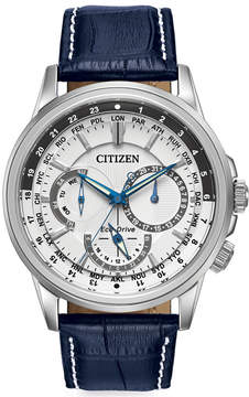 Citizen Men's Eco-Drive Calendrier Blue Leather Strap Watch 44mm BU2020-02A