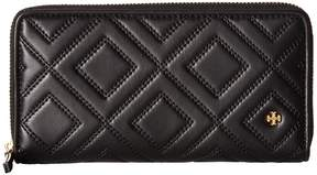 Tory Burch Fleming Zip Continental Wallet Bill-fold Wallet - BLACK - STYLE