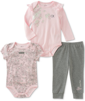 Calvin Klein 3-Pc. Floral Bodysuits & Pants Set, Baby Girls (0-24 months)