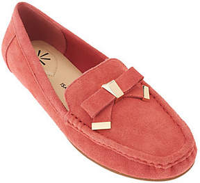 Isaac Mizrahi Live! Suede Moccasins w/ TippedBow