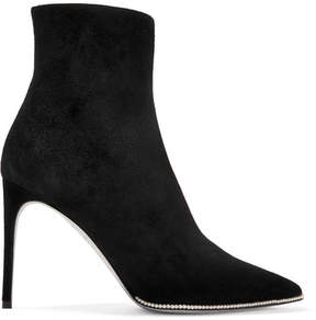 Rene Caovilla Faux Pearl-embellished Suede Ankle Boots - Black