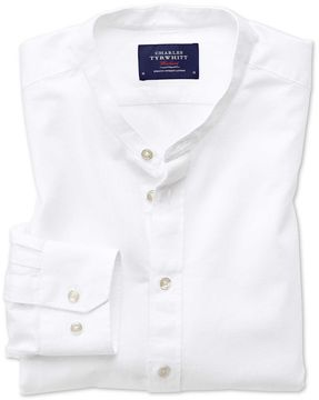 Charles Tyrwhitt Classic Fit Collarless White Cotton Casual Shirt Single Cuff Size Medium