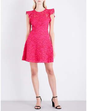 Claudie Pierlot Floral-lace fit-and-flare cotton-blend dress
