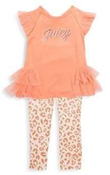 Juicy Couture Baby's Ruffle Logo Top & Leggings Set