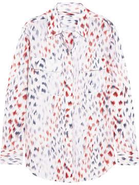 Equipment Signature Printed Washed-silk Shirt - White