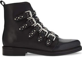 Maje Fortune leather buckled biker boots