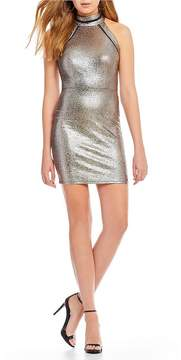 B. Darlin Mock Neck Metallic Sheath Dress