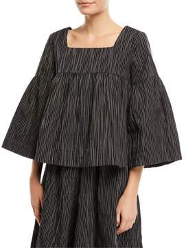 Co Square-Neck Striped Crinkle Cotton Trapeze Top