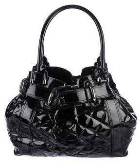 Burberry Quilted Patent Leather Tote - BLACK - STYLE