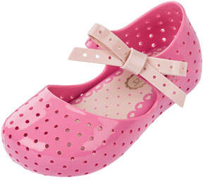 Mini Melissa Perforated Mary Jane Flat w/ Bow, Pink, Toddler