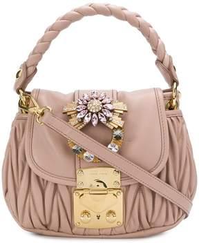 Miu Miu chevron pleated embellished shoulder bag