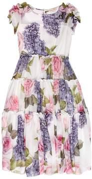 MonnaLisa Hydrangea Print Georgette Long Dress