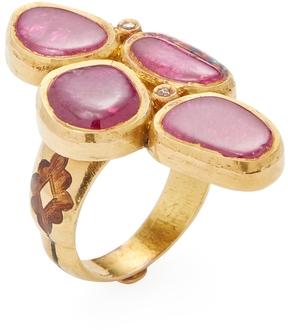 Amrapali Women's 22K Yellow Gold, Ruby & 0.10 Total Ct. Diamond Shield Ring