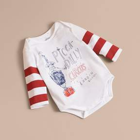 Burberry Long-sleeve London Icons Print Cotton Bodysuit