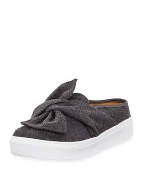 Neiman Marcus Camran Knotted Flannel Slide Sneaker, Gray
