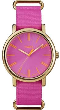 Timex T2P364 Women's Pink Fabric Bracelet With Pink Analog Dial Watch NWT